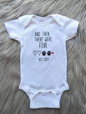 Et puis il y avait cinq | Annonce de grossesse Onesie® | Personnalisé | Annonce personnalisée | Pré   – One Big Happy Family