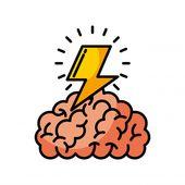 Brain thunder illustration Premium Vector | Premium Vector #Freepik #vector #background #business #technology