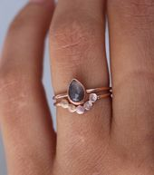 Set of two engagement rings made of solid 585 rose gold: * one ring …