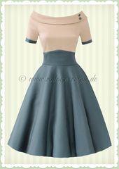 Dolly & Dotty 50er Jahre Rockabilly Petticoat Kleid – Darlene – Beige Grün