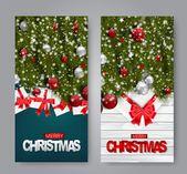 Photo of Frohe Weihnachten Banner festgelegt. Realistisches Konzept des Entwurfes des Weihnachten und des guten Rutsch ins Neue Jahr. Grüne Tanne