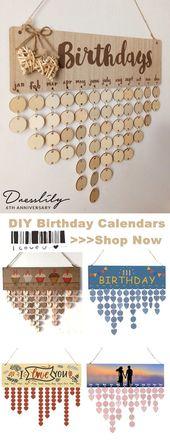 45% de descuento! Calendario de cumpleaños de placa conmemorativa de madera DIY. El perfecto