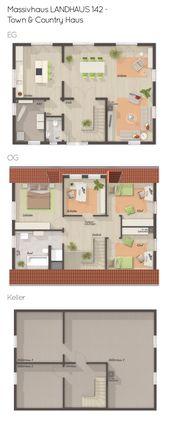 Massivhaus Grundriss mit Keller & Satteldach – 5 Z…