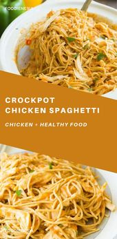 Cheesy Crockpot Chicken Spaghetti #crockpotchickeneasy This Cheesy Crockpot Chic…