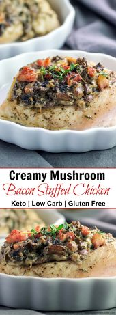 Creamy Mushroom Bacon Stuffed Chicken- Low Carb, Keto, And Gluten Free