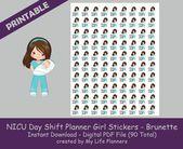 NICU Nurse Day Shift Planner Girl Sticker, Brunette, Printable Stickers, Planner Stickers, Happy Planner, Erin Condren, PDF Digital Download