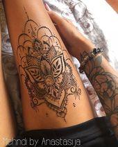 Mandela auf dem Oberschenkel-Tattoo – Virginie Bruel – Tattoo ideen