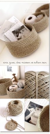 """""""Crocheted storage bowls from packing twine."""" #cro…"""