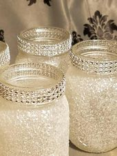 Glistening glass of Mason jars
