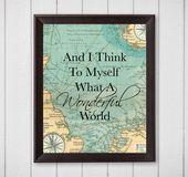 Und ich denke mir was eine wunderbare Welt Karte 8 x 10 druckbare Wandkunst, Wandkunst, Reisen, Weihnachtsgeschenk, Weihnachtsgeschenk Wand Kunst Reisen