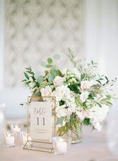 Décoration de desk de mariage, Détails de réception de mariage, le mariage de bouleau