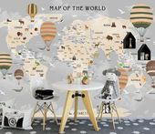 World Map Wallpaper for Kids Vintage Balloons Wall Mural Hot Air Balloon Wall Pr…