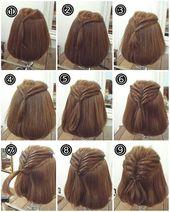 Eine einfache Frisur für schulterlanges Haar! Mit dieser Anleitung für ein # …   – Neue Frisuren