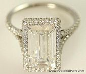 Stunning F/VVS2 – 2.00 carats total – GIA certified Emerald Cut Diamond engagement ring – Handmade – 14K white gold – Bph027   – Schmuck