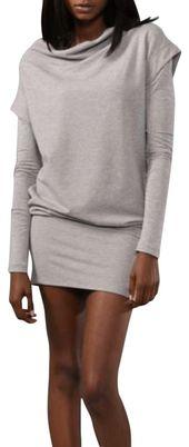 Diane von Furstenberg Gray Financier Sweatshirt Short Casual Dress Size 4 (S)