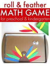 Roll & Feather – Turkey Math Game Für Vorschulkinder   – Thanksgiving math preschool