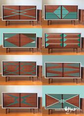 MCM Dresser Graphic Paint Makeover – Made By Barb – replace refinish mid century trendy furnishings graphic designs