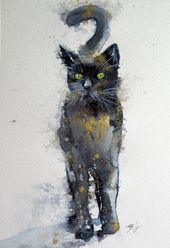 Schwarze Katze in Gold II, Aquarell von Anna Brigitta Kovács   Artfinder
