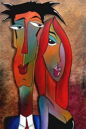 Peinture abstraite moderne pop Artwork impression portrait coloré contemporain visage vin bar décor par Fidostudio – bon Received'em