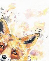Fox Art – Fox Art Nursery – Wildlife Art – Animal Office Decor – Fox Print – Nursery Decor – Kids Room Art Decor – Animal Wall Decor – Fox