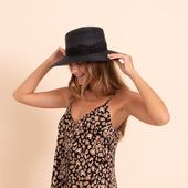 Black wide brim boater hat with decorative black band , hat for women , summer straw hat , sun hat , fashion hat , mens hat – Products