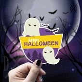 Happy Halloween Ghost Vinyl Sticker, Halloween Stickers, Ghost Stickers, Decal, Macbook Decal, Stick