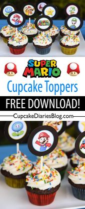 Super Mario Bros. Cupcakes with Free Printable Toppers
