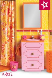 """18/"""" American Gir Doll Accessory Pink Toilet from Julie/'s Groovy Bathroom"""