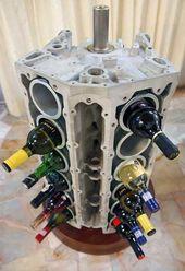 Vieilles Pieces De Voiture Upcycled Projets Porte Bouteilles A Vin Du Bloc Moteur V 12 Bricolage