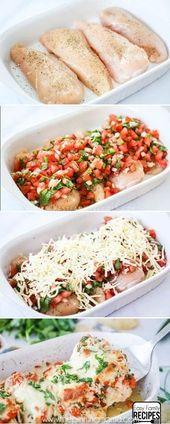 Einfach + Gesund + Lecker = DAS BESTE ABENDESSEN! Salsa Fresca Chicken Rezept is…