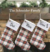 Weihnachtsstrumpf, personalisiert, Plaid, Familienstrümpfe, Haustier Strumpf, Bauernhaus, Ente Stoff, Ma   – Products