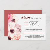 Peonies in Shades of Pink Simple Layout Wedding RSVP Card   Zazzle.com