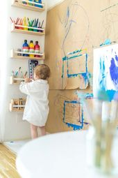 Creative corner and painting wall for several children: painting in nursery (yes, these are things with spices IKEA  – inspiration décoration intérieure
