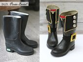 Pirate Boots Makeover Project: Verwandle ein altes Paar Gummistiefel in …   – Halloween