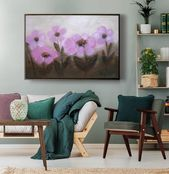 Rustic Farmhouse Botanical artwork, Floral wall art cottage decor, huge canvas print above couch bed, bedroom art panoramic summer landscape
