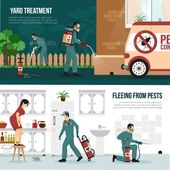 Pest Control Technology Flat Banners Set by macrovector | GraphicRiver