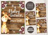 Giraffe Baby Shower Invitation, Baby Giraffe Girl Baby Shower Invite, Rustic Baby Shower Set, Baby Girl Theme, Giraffe Theme, Safari,Digital – baby shower ideas