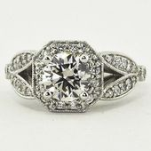 18K White Gold Luxe Victorian Split Shank Halo Diamond Ring. Set with a 0.95 Car…