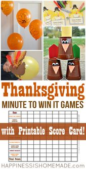 These awesome Thanksgiving Minute to Win It games for kids and adults are perfec…
