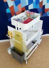 Ikea Hack: So erstellen Sie eine cellular Pegboard-Speichereinheit aus dem Raskog-Wagen und dem Skadis-Pegboard – Samantha Style Life