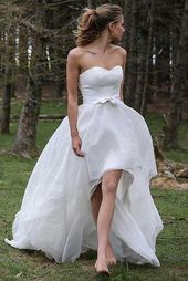 High Low Sweetheart Beach Wedding Dresses, Boho Wedding Dress with Bow HOM11762