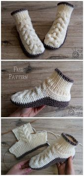 Super Soft Cozy Slippers Free Knitting Pattern – #…