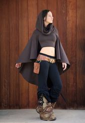 Crop Top Hoodie with Cape Sleeves, Elf Forest, Festival Clothing
