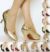 Zapatos de charol casuales de tacón medio para fiesta de boda para mujer Talla-5972 …   – Zapatos Fiesta