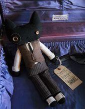Rutherford Black Cat Plüschtier Art Doll Victorian OOAK Freies Verschiffen etsy