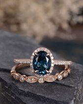 London Blue Topaz Wedding Ring Set Rose Gold Engagement Ring Bridal Sets Wedding … # …