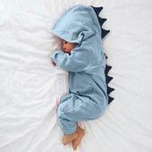 Nouveau-né Childish Bébé Garçon Fille Dinosaure À Capuche Romper Combinaison Costumes Vêtements