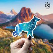 German Shepherd Ocean Vinyl Sticker, Best Friend Gift, Animal Decals, Dog Stickers, Decal, Macbook D