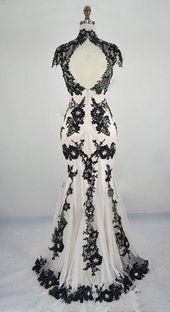 Black White Wedding Gown / Classic Lace Elegant Summer Banquet Dress   – Nadel und Faden – was  Feines