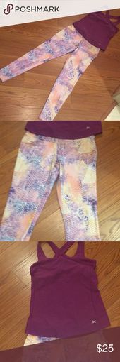 Workout Outfit Meerjungfrau Leggings und lila Top Gebraucht schöne Workout Set si …   – My Posh Closet